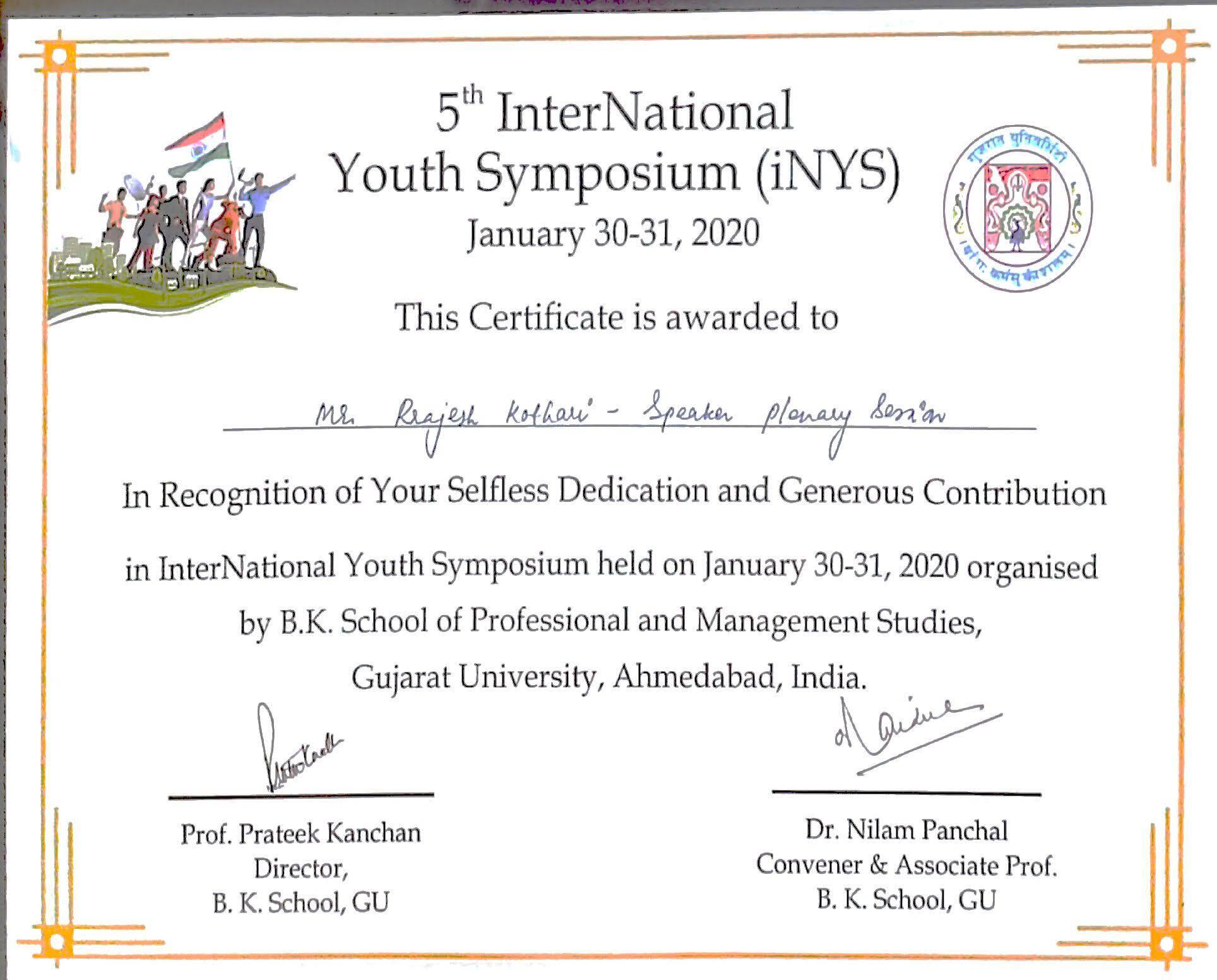 5th InterNational Youth Symposium(iNYS)